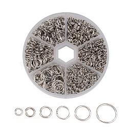 1 коробка Перейти Кольца железа, Близко, но распаяны, но разведены кольца прыжок, платина, 4~10x0.7~1 мм; около 2.6~8 мм внутренний диаметр, о 1600 шт / коробка