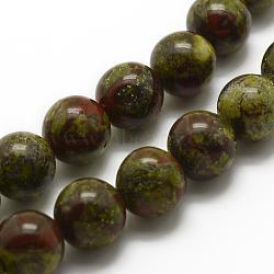 Chapelets de perles de sang de dragon naturel, rond, 8mm, trou: 1mm; environ 48 pcs/chapelet, 15.3'' (39 cm)(G-K194-8mm-03)