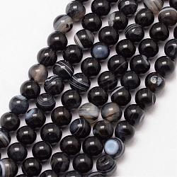 Natural Striped Agate/Banded Agate Bead Strands, Round, Grade A, Dyed & Heated, Black, 6mm, Hole: 1mm; about 61pcs/strand, 15inches