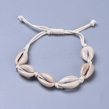 Adjustable Cowrie Shell Braided Bead Bracelets, with Waxed Cotton Cords, Pale Goldenrod, 10-1/2 inch(26.6cm)(BJEW-JB04271)