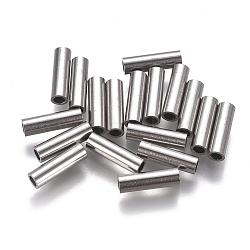 304 inoxydable perles de tubes d'acier, couleur inox, 10x3 mm, trou: 2 mm(STAS-F224-01P-D)
