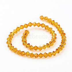 Chapelets de perles en verre d'imitation cristal autrichien, grade AAA, verge d'or, 4x4mm, trou: 1mm; environ 50 pcs/chapelet(G-PH0007-07-4mm)