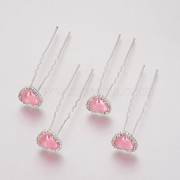 (Defective Closeout Sale), Lady's Hair Forks,with Silver Color Plated Iron Findings, Rhinestone and Acrylic, Heart, Crystal, PearlPink, 71mm(PHAR-XCP0001-L04)