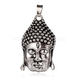 Tête buddha pendentifs en alliage de style tibétain, argent antique, 39x23x10mm, Trou: 3x7mm(PALLOY-J684-16AS)