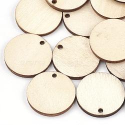 Pendentifs en bois non teint, plat rond, blé, 24.5x3mm, Trou: 2mm(X-WOOD-T008-13)