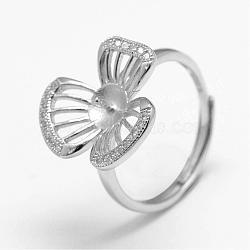 Composants de bague ajustables en 925 argent sterling, pour la moitié de perles percées, avec micro ouvrent la zircone cubique, fleur, platine, 17.5 mm; plateau: 5 mm; broches: 0.8 mm(STER-F026-10P)