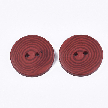 Resin Buttons, 2-Hole, Flat Round with Vortex Pattern, FireBrick, 38x5.5~6mm, Hole: 3.5mm(RESI-S377-05D-1)