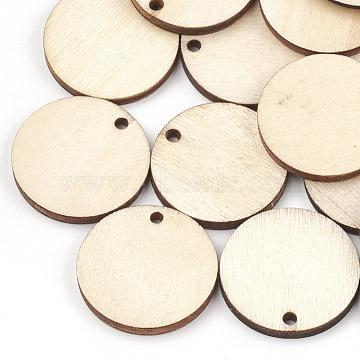 Undyed Wood Pendants, Flat Round, Wheat, 24.5x3mm, Hole: 2mm(X-WOOD-T008-13)