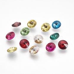 Strass en verre pointé , rivoli strass, dos plaqué, cône, couleur mixte, 8x4.5mm(X-RGLA-R003-8mm-M)