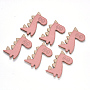 Faux Suede Cabochons, Dinosaur, Pink, 55x35x3mm