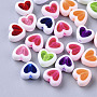 Transparent Acrylic Beads, Edge Opaque, Heart, Mixed Color, 7.5x8.5x4mm, Hole: 1.8mm