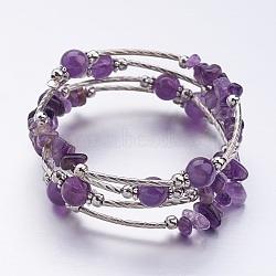 """Bracelets wrap améthyste naturelle, avec des perles de fer et des alliages de fleurs, quatre boucles, violet, couleur mixte, 2-1/8"""" (55 mm)(X-BJEW-JB02590-05)"""