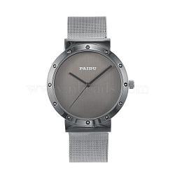 Стильный высокого качества из нержавеющей стали 304 кварцевые наручные часы, серые, 240x20 мм; голова часов : 47x43x8 мм; лицо часов : 34 мм(WACH-N052-09B)