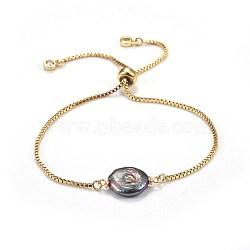 """Bracelets coulissants en laiton, bracelets bolo, avec des perles de keshi naturelles, slategray, 9"""" (23cm); 1.3mm(BJEW-JB04266-01)"""