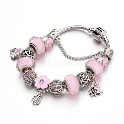 """Bracelets européens de mode en laiton, avec des perles de verre et perles en alliage de strass, pearlpink, 7-1/2"""" (190 mm); 3mm(X-BJEW-L583-04C)"""