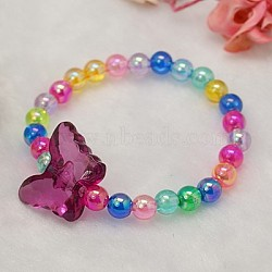 Bracelets pour enfants en acrylique transparent pour le cadeau de fête des enfants, colorées, 45mm(BJEW-JB00613-06)