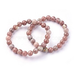 Natural Plum Blossom Jade Beads Stretch Bracelets, Round, 2inches~2-1/8inches(5.2~5.5cm); Beads: 8~9mm(X-BJEW-F380-01-B08)