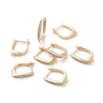 Accessoires de boucle d'oreilles en laiton, avec boucle et zircone cubique transparente, oeil de cheval, Plaqué longue durée, véritable plaqué or, 18.3x13.5x2.5mm, trou: 1.5 mm; broches: 0.8 mm(ZIRC-L077-034G)