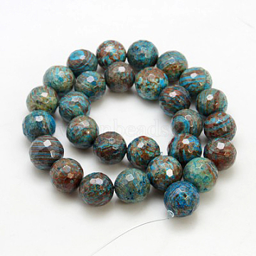 Natural Chrysocolla Beads Strands, Round, Faced, Dyed & Heated, Colorful, 10mm, hole: 1mm, 15.5inches, 39pcs/strand(G-G099-F10mm-35)