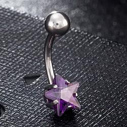 piercing bijoux, anneau de zirciona de nombril en laiton de l'environnement, anneaux de ventre, avec les résultats en acier inoxydable, étoiles, pourpre, 20 mm, étoile: 8 mm; goupille: 1.5 mm(AJEW-EE0006-50E)