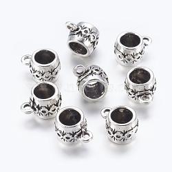 Liens de suspension en alliage, Perles renflouer , sans plomb et sans cadmium, baril, argent antique, environ 15 m de long,  largeur de 11 mm, épaisseur de 10mm, Trou: 2.5mm(X-EAAA097Y)