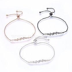 """Bracelets bolo extensibles en laiton avec zircon cubique de micro pavé, Bracelets coulissants, clair, couleur mixte, 11"""" (28cm); 1.2mm(BJEW-H583-29)"""