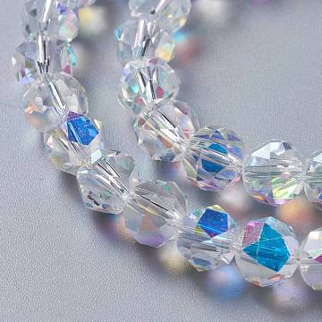 Glass Imitation Austrian Crystal Beads, Faceted Round, Clear AB, 10x9mm, Hole: 1mm(GLAA-F108-01)