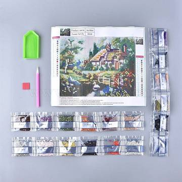 DIY Diamond Painting Stickers Kits For Kids, with Diamond Painting Stickers, Resin Rhinestones, Diamond Sticky Pen, Tray Plate and Glue Clay, Forest Cabin, Mixed Color, 30.5x25cm(DIY-F054-04)