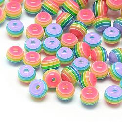Transparent Stripe Resin Beads, Round, Colorful, 6mm, Hole: 1mm(RESI-S345-6mm-10)