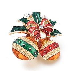 Golden Plated Alloy Brooches, with Rhinestone and Enamel, Christmas Bell, for Christmas, Colorful, 33x32.5x18mm; Pin: 0.8mm