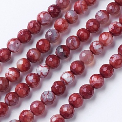 Natural Agate Beads Strands, Dyed & Heated, Grade A, Faceted, Round, Brown, 10mm, Hole: 1.2mm; about 38pcs/strand, 14.9''(38cm)