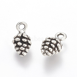 Antique Silver Tibetan Style Pine Cone Pendants, Lead Free, 13mm long, 7mm wide, 5.5mm thick, hole: 2mm