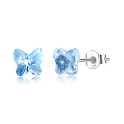 925 Sterling Silver Stud Earrings, with Austrian Crystal, Butterfly, Carved 925, Platinum, 202_Aquamarine, 5x5mm(EJEW-BB30547-F)