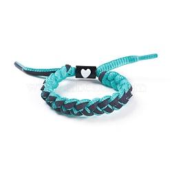 bracelets coulissants tressés en fils de polycoton (polyester coton) réglables, avec les résultats de l'émail en alliage de zinc, turquoise, 1-3 / 4 3 cm)(BJEW-P252-E04)