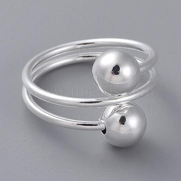 Classic Brass Cuff Rings, Open Rings for Women, Silver Color Plated, US Size 8(18.1mm)(RJEW-BB13223)