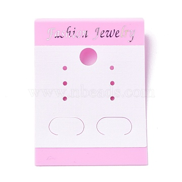 Plastic Jewelry Display Cards, for Hanging Earring Display, Rectangle, Pink, 50x37.5x5mm, Hole: 1.4mm and 6mm, 100sheets/bag(DIY-K032-14A)