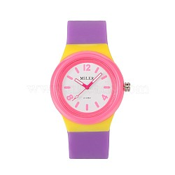 Высокого качества для детских 304 из нержавеющей стали силиконовые кварцевые наручные часы, сиреневые, 230x25 мм; головка часы: 48x43x13 мм(WACH-N016-04)