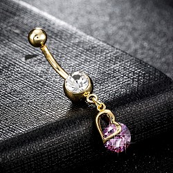 Piercing Jewelry, Environmental Brass Cubic Zirconia Navel Ring, Belly Rings, with Use Stainless Steel Findings, Heart, Plum, 37x8mm; Pin: 1.5mm(AJEW-EE0003-05D)