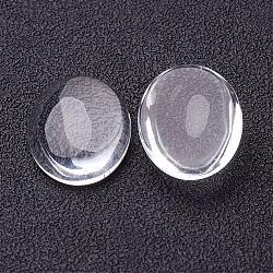 Cabochons de verre transparent de forme ovale, clair, 18x13x4~5mm(X-GGLA-R022-18x13)