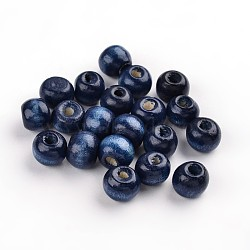 perles en bois naturel teint, arrondir, sans plomb, marineblue, 8x7 mm, trou: 3 mm(X-TB102Y-6-LF)