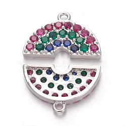 pendentifs demi-cercle en laiton zircon cubique micro pavé, demi-tour, coloré, platine, 11x17.5x2.5 mm, trou: 1.2 mm(ZIRC-E158-04P)