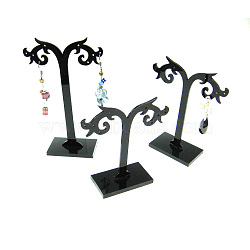 Black Pedestal Earring Tree Stand Jewelry Display Holder Showcase, about 8cm wide, 8~12cm long. 3 Stands/Set(X-PCT044)