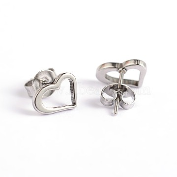 Heart 304 Stainless Steel Ear Studs, Stainless Steel Color, 6.5x9mm, Pin: 0.7mm(X-EJEW-F0075-051P)