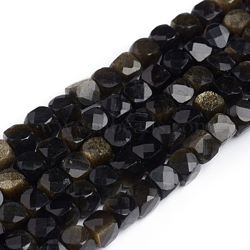 Natural Golden Sheen Obsidian Beads Strands, Cube, Faceted, 2x2x2mm, Hole: 0.6mm, about 178pcs/strand, 15.55inches(39.5cm)(G-A026-B04-2mm)