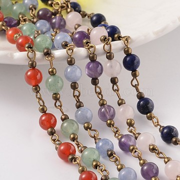 Round Natural Gemstone Handmade Beaded Chains, Unwelded, with Brass Findings, Antique Bronze, 6mm; about 58pcs/strand, 39.3 inches(AJEW-JB00185)