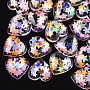 Resin Cabochons, with Paillette, Heart, Colorful, 15.5x16x6mm