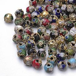 perles en cloisonné main, arrondir, couleur mélangée, arrondir, 6 mm (+ - 0.5~1 mm), trou: environ 1~1.5 mm(X-CLB6mm-M)