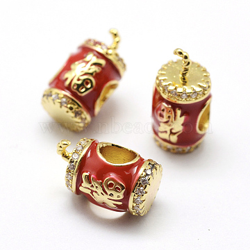 Brass Micro Pave Grade AAA Cubic Zirconia European Beads, with Enamel, Large Hole Beads, Firecracker with Word, Lead Free & Nickel Free & Cadmium Free, Real 18K Gold Plated, 12.5~13.5x8x7mm, Hole: 4mm(KK-P126-13G-NR)