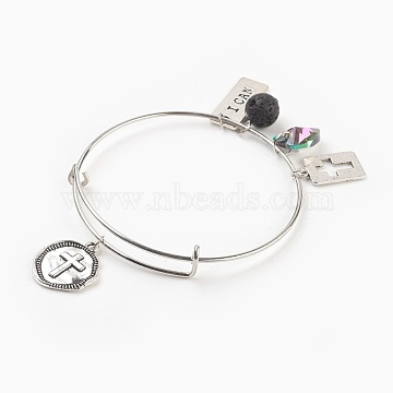 Adjustable Iron Charm Bangles, with Tibetan Style Alloy Pendants, Electroplated Glass Charms and Natural Lava Rock Round Beads, Antique Silver & Platinum, 2-1/2 inches(6.5cm), 1.5mm(X-BJEW-JB03820)