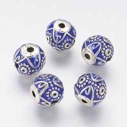 Émail alliage 3-bouddhiste perles, perles t-percées,  accessoires de bijoux bouddha, argent antique plaqué, rond, bleu, 14x13mm, trou: 2.5 mm et 3.5 mm(ENAM-J636-01AS)